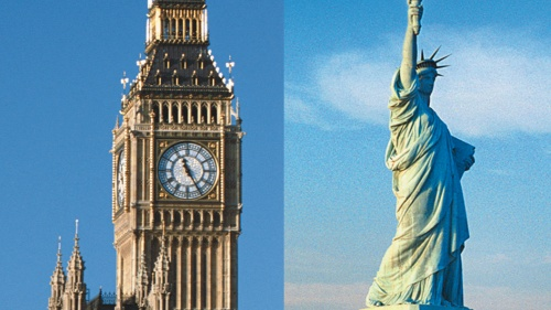 Big Ben clock tower in London, England and Statue of Liberty in New York City.