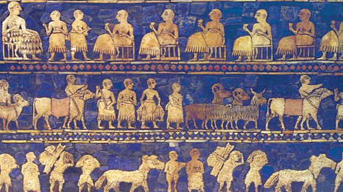 Scenes from an elegant inlaid box excavated in Ur in present-day Iraq depict daily life in the time of Abraham.