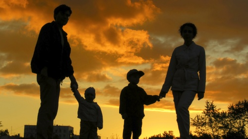 A silhouette of a family.