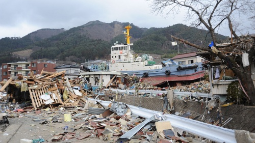 A tug boat among the debris in Ofunato, Japan following earthquake and tsunami.