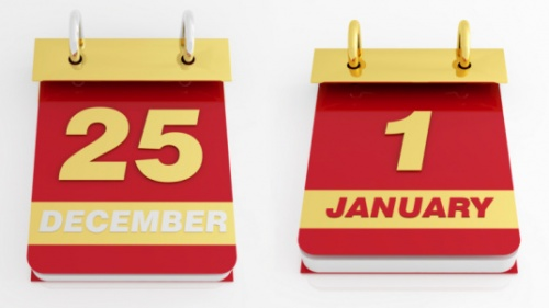 A calendar that shows December 25 and January 1.