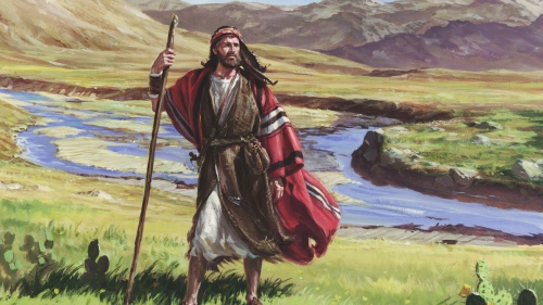 Artist illustration of Abraham walking with a staff.