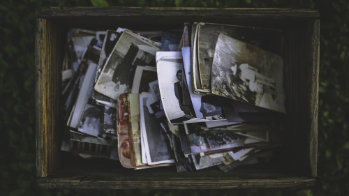 An old box of family photos.