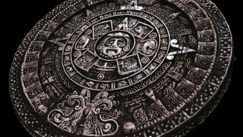 Mayan calendar on black background
