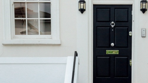 A door of a house.