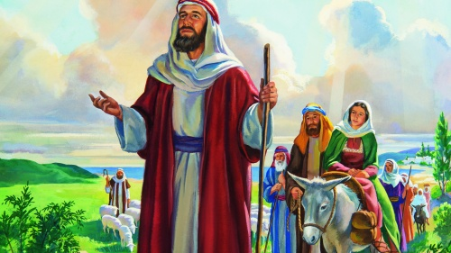 A painting illustrating Abraham traveling with his family.