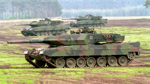 German Leopard 2 battle tanks on maneuvers.