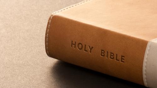 A brown Bible.