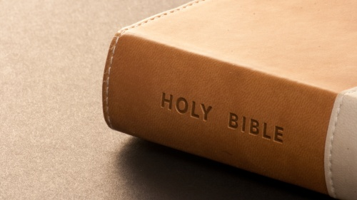 A brown Bible.
