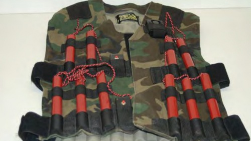 A vest with explosions attached to it.