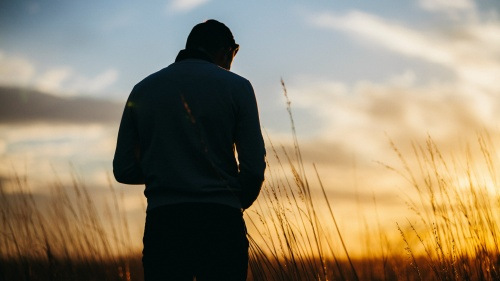 A man looking down while standing in a field. The sun is setting in the distance.
