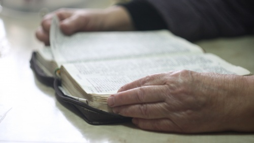A older person reading a Bible.