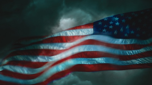 An American flag in a storm.