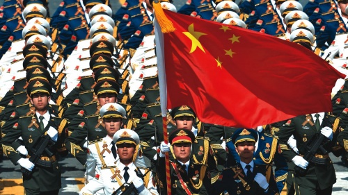 Chinese soldiers marching.
