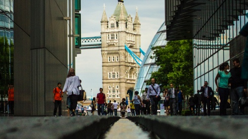 On the towers of the Tower Bridge in London.