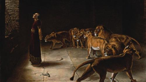 An artist's rendition of Daniel in the lion's den.