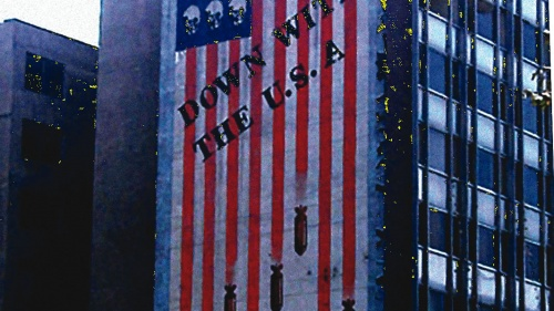 "A huge mural on a Tehran building reads ""Down With the U.S.A."""