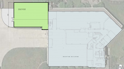 The green shows where the addition of the new studios will be placed on the building.