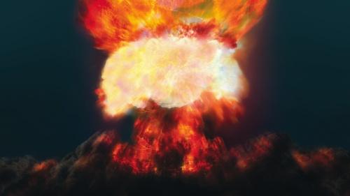 A mushroom cloud explosion.