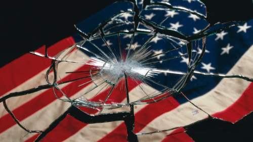 A shattered American flag in glass.