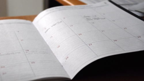A calendar planner opened.