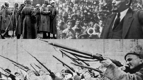 Scenes from the 1917 Russian revolution that led to a communist takeover.