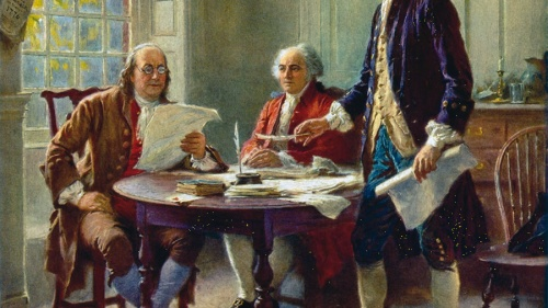 Artist rendition of Benjamin Franklin, John Adams and Thomas Jefferson drafting the Declaration of Independence.