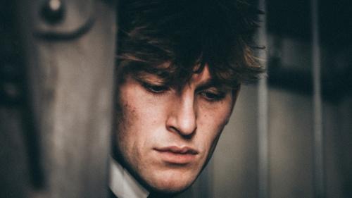 A closeup of a man's face.
