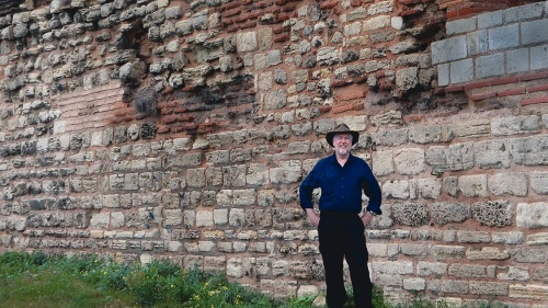 The author examines ruins of the 1,600-year-old defensive walls of Constantinople in 2015.