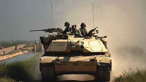 U.S. Army M1A1 battle tank in Iraq in 2004.
