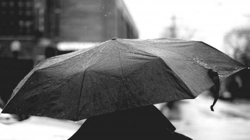 A person walking in the rain using an umbrella.
