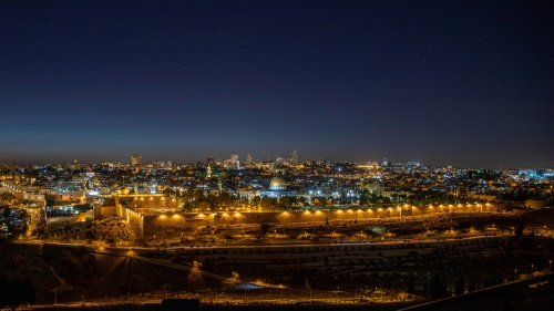 Old City, Jerusalem, Israel at night.