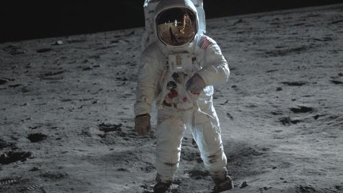 Walking on the moon.