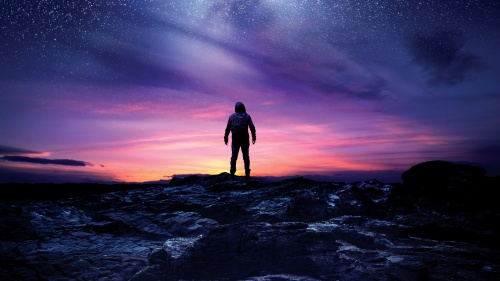 Silhouette of a man looking at the night sky filled with stars.