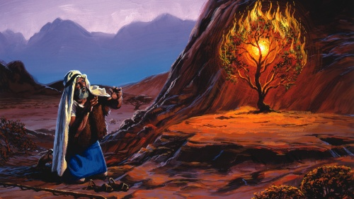 """An artist rendition of Moses talking to the """"burning bush""""."""