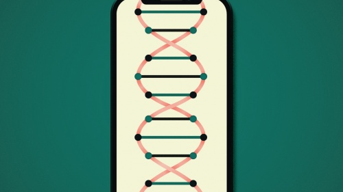iPhone with a DNA strand in it