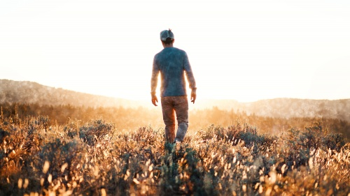 A man walking in a field with the sun rays shining on him.