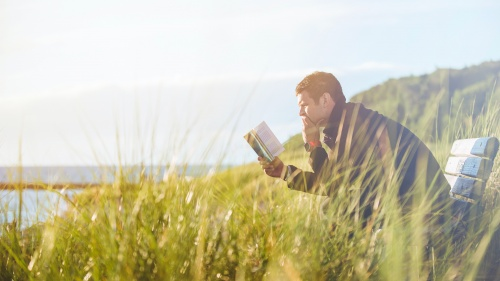Man sitting in field studying Bible alone.