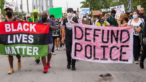 Black Lives Matter supporters protest June 7, 2020, in Miami, Florida.