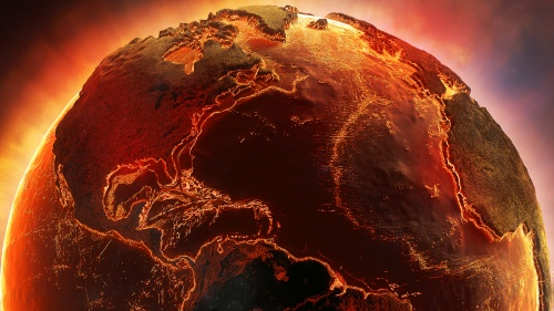 A artist rendition of the earth on fire.