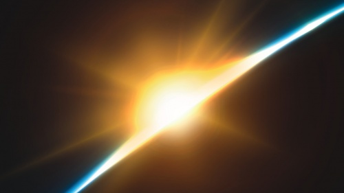 Sun rays shining past earth.