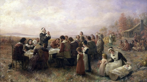 A artist rendition of a Pilgrim meal.