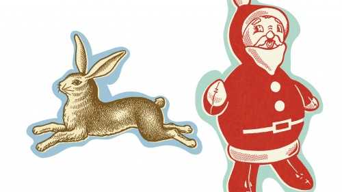 a Santa and Easter bunny cartoon cut out