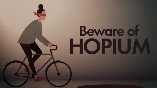 Artistic illustration of blindfolded woman on a bicycle headed for a hole in the ground