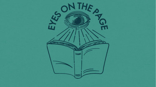 Illustration of an eye reading a book