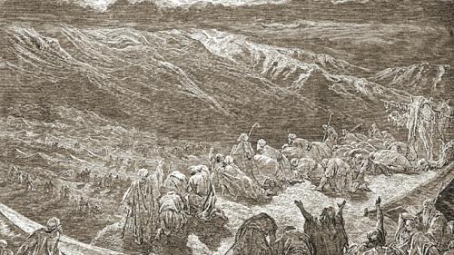 An illustration of the Israelites at Mount Sinai.