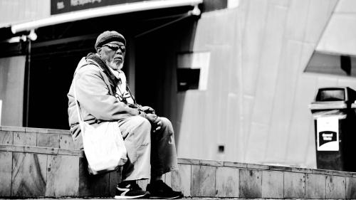 A homeless man.