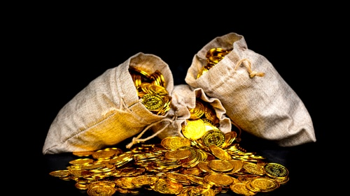 A bag of gold coins.