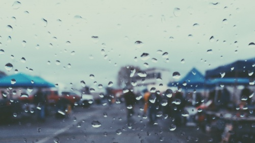 Raindrops on a car windshield.