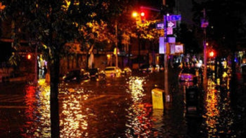 Flooded street from Hurricane Sandy.